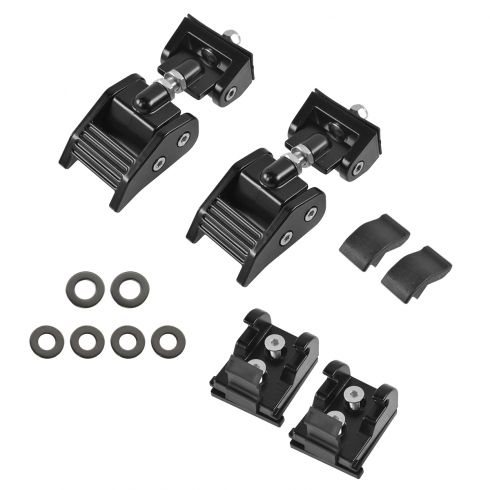 07-14 Jeep Wrangler (exc 2013 10th Aniv Rubicon) Blk Alum Hood Latch/ Catch Brkt PAIR (Rugged Ridge)