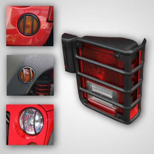 07-14 Jeep Wrangler Black Euro Guard Light Protector Kit (8 Pieces) (Rugged Ridge)