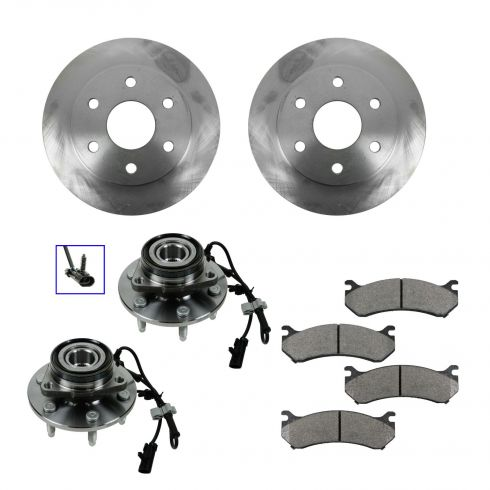 Wheel Hub & Bearing Pair with CERAMIC Brake Pads & Rotors Set