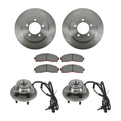 02-05 Ford Explorer, Mercury Mountaineer Front Hubs, Ceramic Brake Pads, Brake Rotors Kit