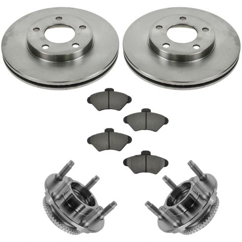94-98 Ford Mustang Front Hubs, Ceramic Brake Pads, Brake Rotors Kit