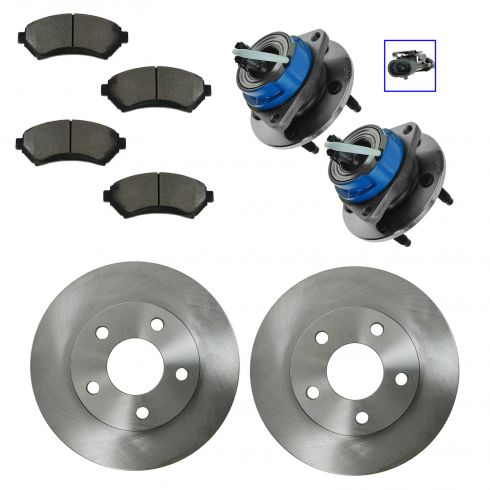 97-01 GM Multifit Front Hubs, Ceramic Brake Pads, Brake Rotors Kit