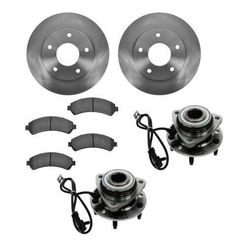Chevy, GMC, Isuzu, Olds Pickup & SUV 4WD Front Hubs, Ceramic Brake Pads, Brake Rotors Kit