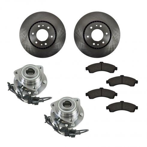 02-06 Buick, Chevy, GMC, Isuzu, Saab SUV Front Hubs, Ceramic Brake Pads, Brake Rotors Kit