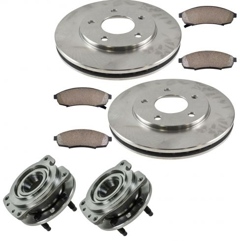 95-01 Buick, Chevy, Olds, Pontiac Multifit Front Hubs, Ceramic Brake Pads, Brake Rotors Kit