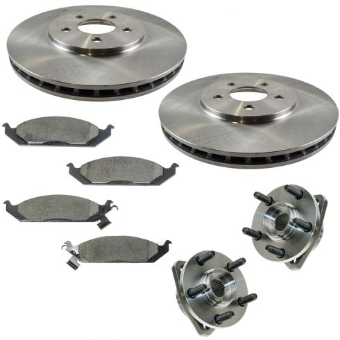 95-00 Cirrus, Stratus; 96-00 Sebring Conv, Breeze Front Hubs, Ceramic Brake Pads, Brake Rotors Kit