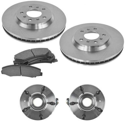 06-11 Lucerne; 09-12 Impala; 06-07 Monte Carlo Front Hubs, Ceramic Brake Pads, Brake Rotors Kit