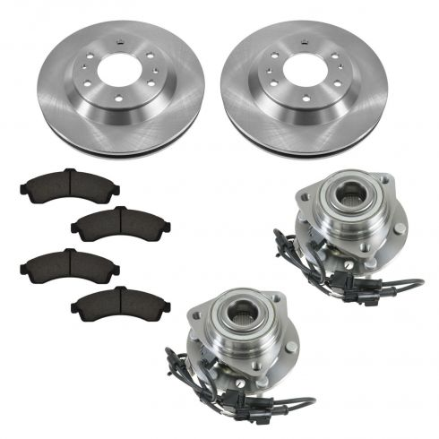 02-05 Buick, Chevy, GMC, Isuzu, Olds SUV Multifit Front Hubs, Ceramic Brake Pads, Brake Rotors Kit