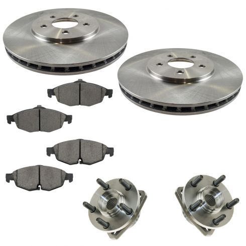 01-05 Stratus Sedan; 01-06 Sebring Conv/Sedan Front Hubs, Ceramic Brake Pads, Brake Rotors Kit