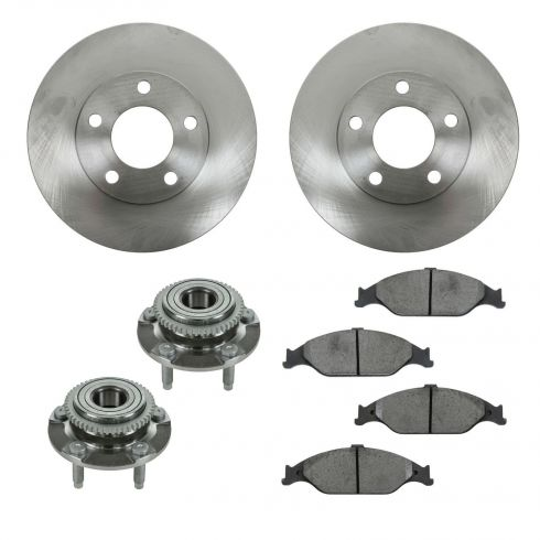 99-04 Ford Mustang Base, GT Front Hubs, Ceramic Brake Pads, Brake Rotors Kit