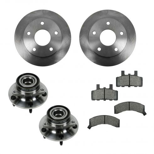 94-99 Dodge Ram 1500 4WD Front Hubs, Ceramic Brake Pads, Brake Rotors Kit