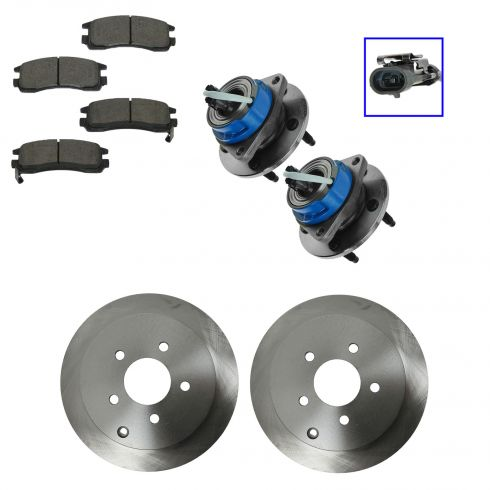01-06 Buick, Chevy, Olds, Pontiac Multifit Rear Hubs, Ceramic Brake Pads, Brake Rotors Kit