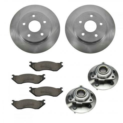 02-05 Dodge Ram 1500 RWAL Front Hubs, Ceramic Brake Pads, Brake Rotors Kit