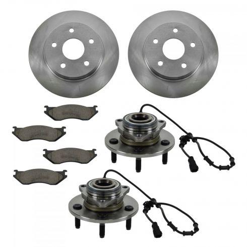 02-05 Dodge Ram 1500 4 Wheel ABS Front Hubs, Ceramic Brake Pads, Brake Rotors Kit