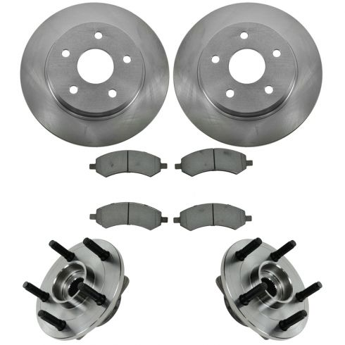 06-08 Dodge Ram 1500 RWAL Front Hubs, Ceramic Brake Pads, Brake Rotors Kit