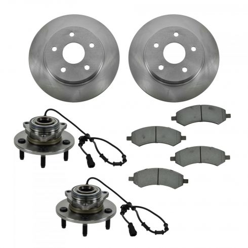 06-11 Dodge Ram 1500 4 Wheel ABS Front Hubs, Ceramic Brake Pads, Brake Rotors Kit
