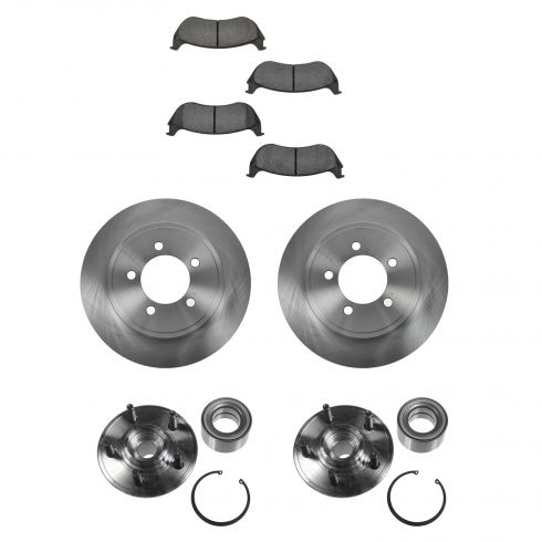 02-05 Mountaineer, Explorer 4 Door (exc Sport Trac) Rear Hubs, Ceramic Brake Pads, Brake Rotors Kit