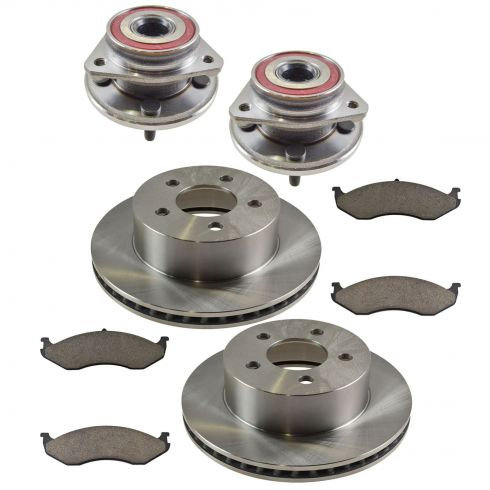 99-01 Jeep Cherokee; 99-06 Wrangler Front Hubs, Ceramic Brake Pads, Full Cast Brake Rotors Kit
