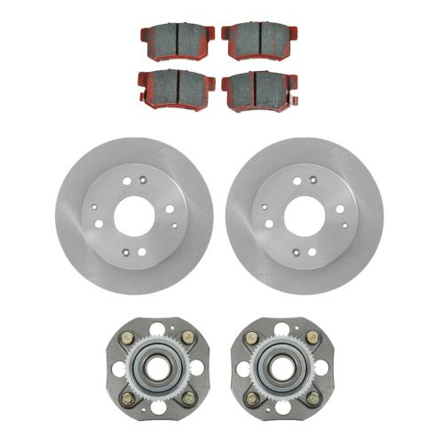 98-02 Honda Accord 2.3L 4 Wheel Disc Rear Hubs, Ceramic Brake Pads, Brake Rotors Kit