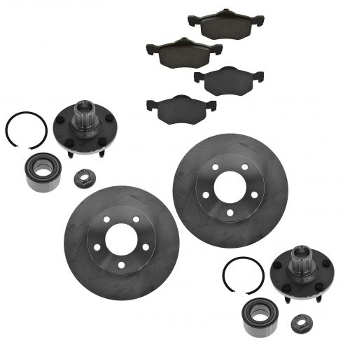 2001-04 Escape Tribute Front CERAMIC Disc Brake Pads, Rotor, & Wheel Hub Kit