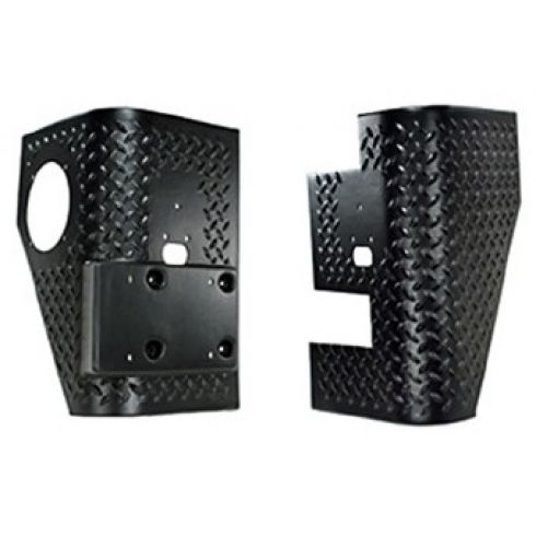 97-06  Jeep Wrangler (exc Unlimited) Diamond Txt Black Plastic Rear Body Armor Tall Corner PR (Rug R