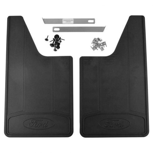 11-16 F150, F250SD-F550SD w/SRW ~Ford~ Logoed Heavy Duty Rear Splash Guard Mud Flap Pair (Ford)