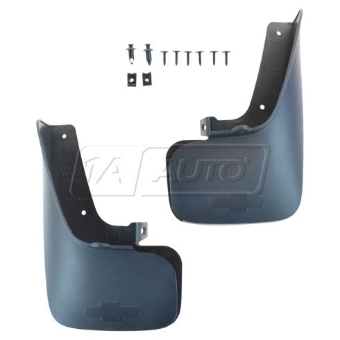 10-15 Chevy Equinox Molded Dk Gray Plastic Front & Rear Splash Guard Mud Flap Set w/Mnting Kit (GM)