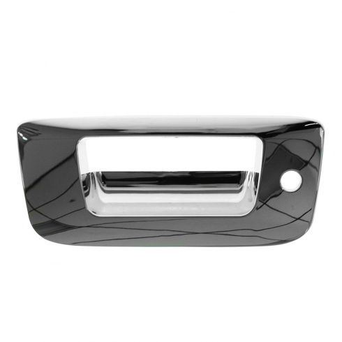 07-13 Silverado, Sierra New Body ALL CHROME Tailgate Handle Bezel (w/Keyhole)