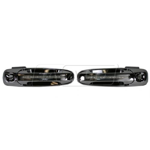 02-07 Dodge Ram 05-07 Dakota Outside Chrome Door Handle Pair With Green LED Lights