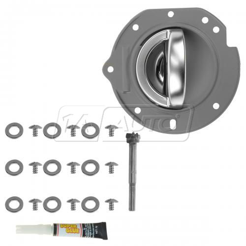 02-07 Jeep Liberty Front Gray w/Satin Chrome Inside Door Handle w/Bezel Repair Kit LF
