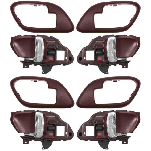 1995-02 Chev PU Truck Int Door Handle & Bezel Red & Chrome Set of 4