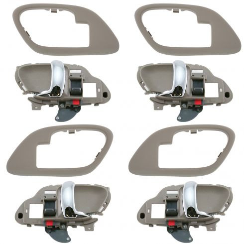 1995-02 Chev PU Truck Int Door Handle & Bezel Tan & Chrome Set of 4