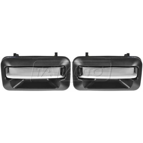 1987-93 Dodge Ram 50 Chrome & Black Outside Door Handle Front PAIR