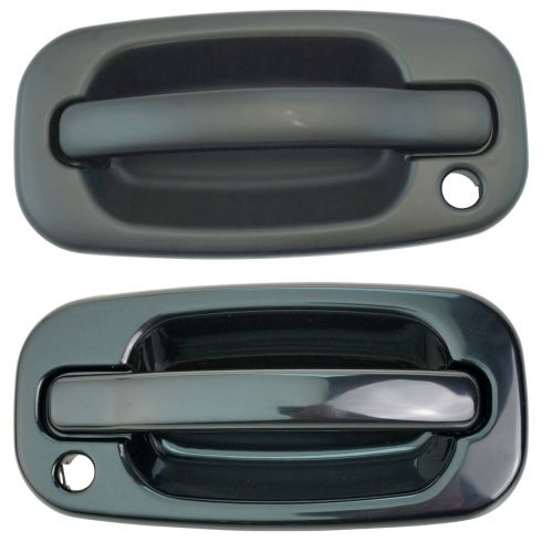 1999-07 Chevy Silverado Gloss Black Outside Door Handle Front PAIR