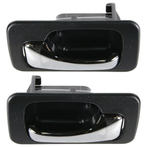 1990-93 Honda Accord Inner Rear Door Handle Man Locks Black Plastic PAIR