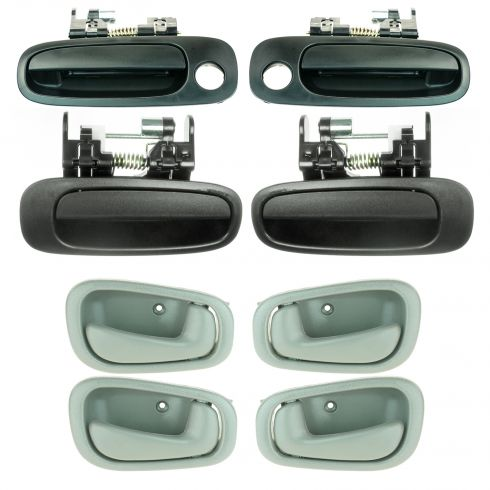 1998-02 Corolla Prizm Door Handle Outer & Inner Front & Rear Gray Manual Lock Set