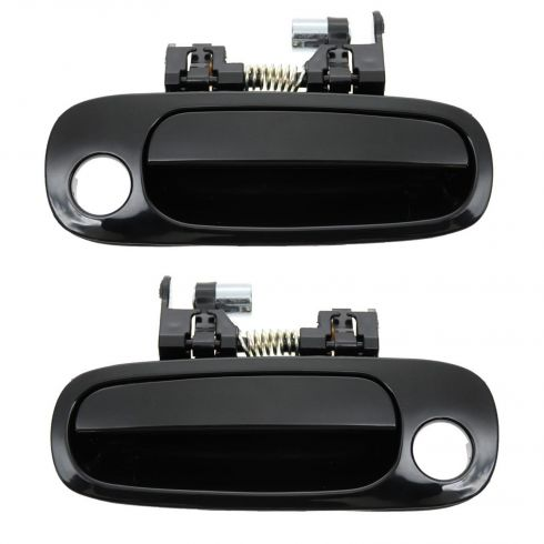 98-02 Toyota Corolla Geo Prizm Smooth Black Outside Door Handle PAIR