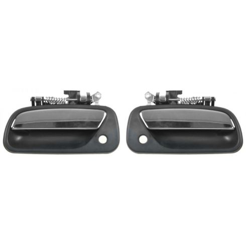 1993-98 Toyota T100 Front Outside Door Handle Black w/Chrome Lever PAIR