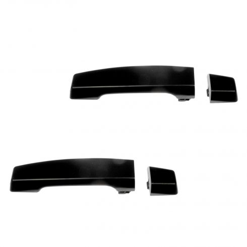04-12 Nissan Titan Crew Cab Rear Outer Black Textured Door Handle w/Escutcheon PAIR