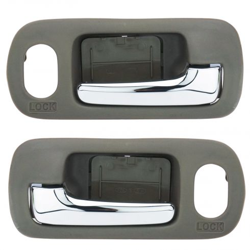 01-05 Honda Civic Sedan w/Pwr Locks Front Inner Chrome & Brown Door Handle PAIR