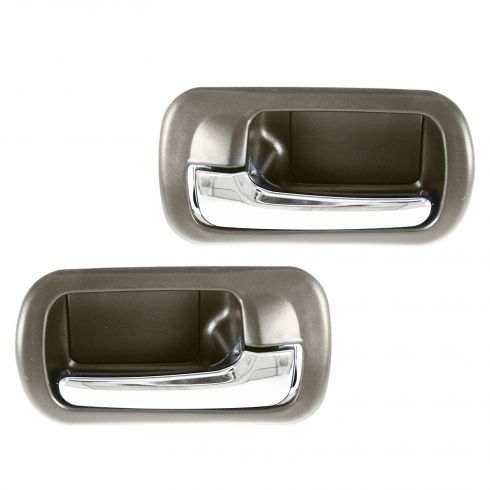 01-05 Honda Civic Rear Inner Chrome & Brown Door Handle PAIR