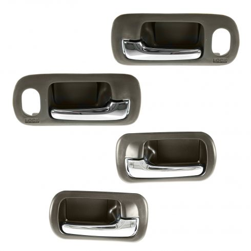 01-05 Honda Civic Sedan w/Pwr Locks Front & Rear Inner Chrome & Brown Door Handle (Set of 4)