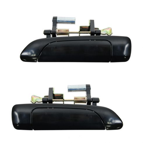 01-05 Honda Civic Sedan Rear Outer Smooth Black Door Handle Pair