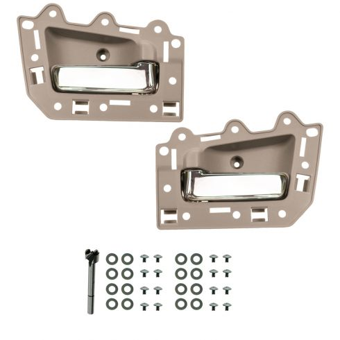 05-10 Jeep Grand Cherokee Rear Inner Beige & Chrome Door Handle Repair Kit PAIR
