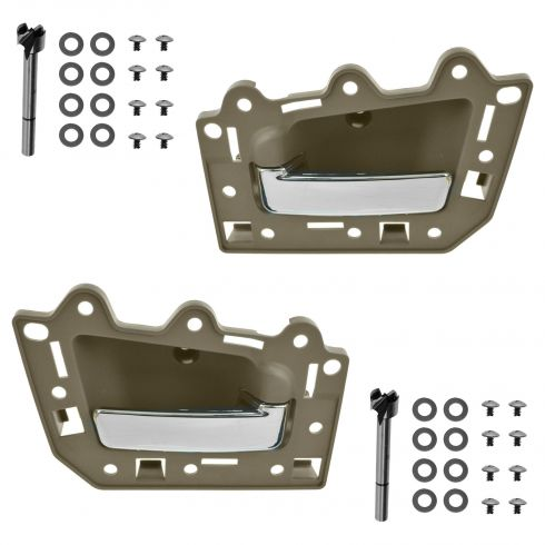 05-10 Jeep Grand Cherokee Rear Inner Light Brown & Chrome Door Handle Repair Kit PAIR