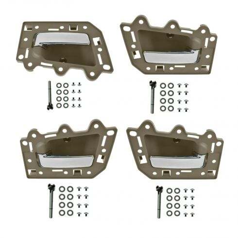 05-10 Jeep Grand Cherokee Front & Rear Inner Light Brown & Chrome Door Handle Repair Kit (Set of 4)