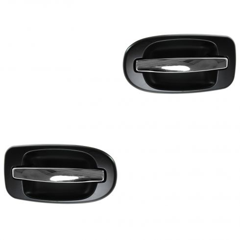 97-09 GM Mini Van Multifit Rear Outer Black w/Chrome Handle Sliding Door Handle PAIR