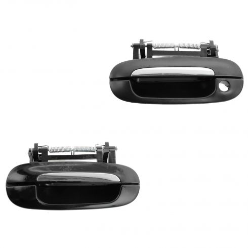98-04 Cadillac Seville RF; 00-05 Deville; 06-11 DTS Front Outside Chrome & Black Door Handle PAIR