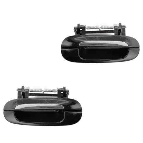 00-05 Cadillac Deville; 06-11 DTS Rear Outside Black & Chrome Door Handle PAIR