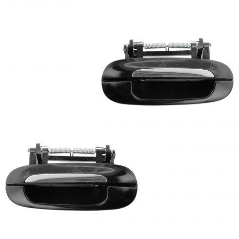 00-05 Cadillac Deville; 06-11 DTS Rear Outside Black & Chrome Door Handle PAIR